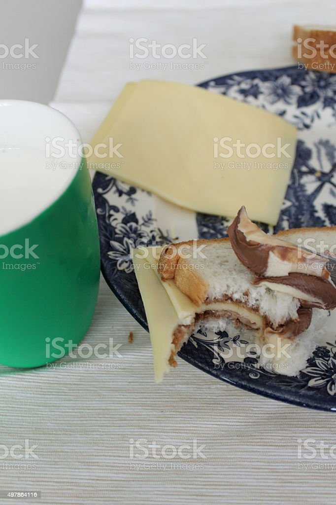 Salty and sweet breakfast. stock photo