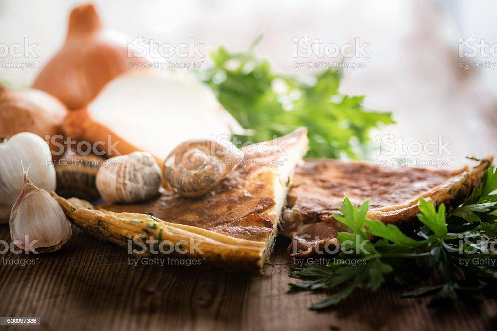 Salty herb pancake stock photo