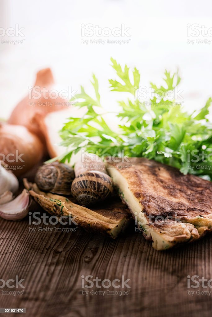 Salty herb pancake stock photo