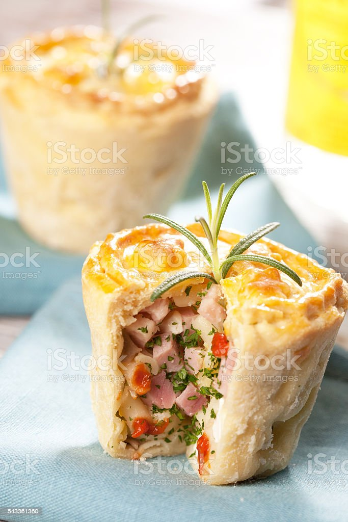 Salty muffin with ham stock photo