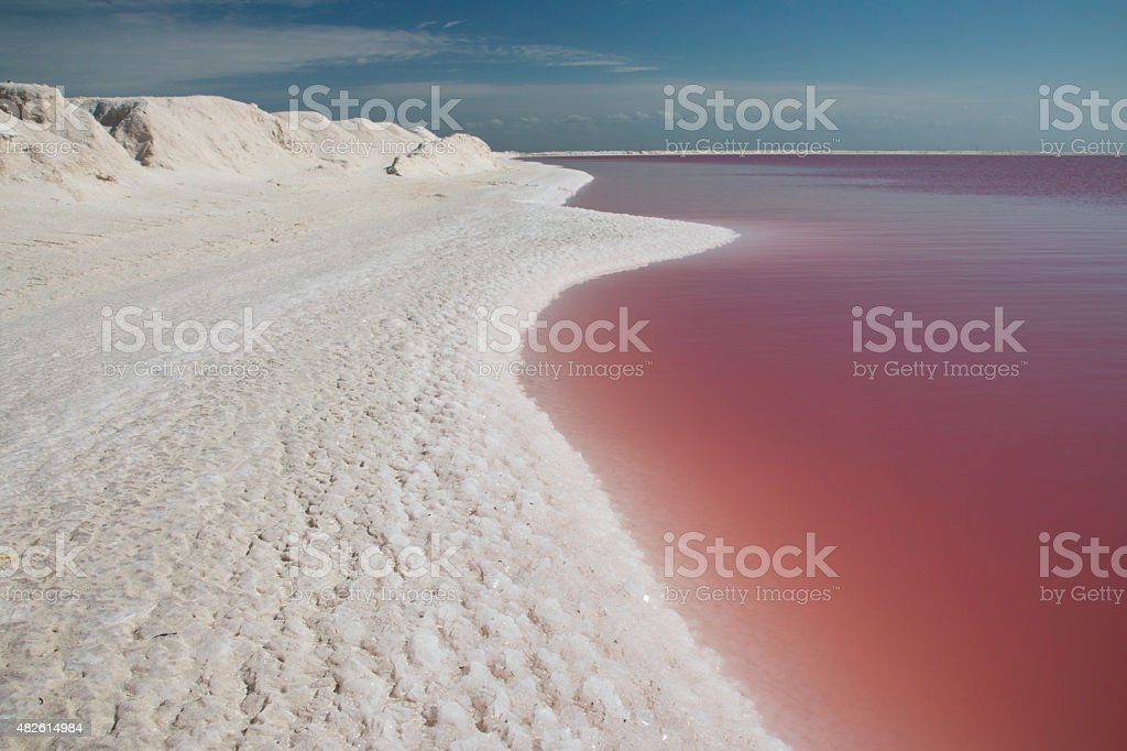 Salty pink waters Las Coloradas  in Yucatan, Mexico stock photo
