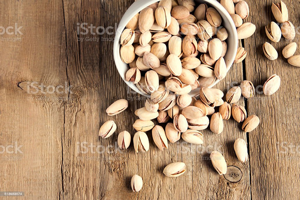 Salty pistachios nuts stock photo