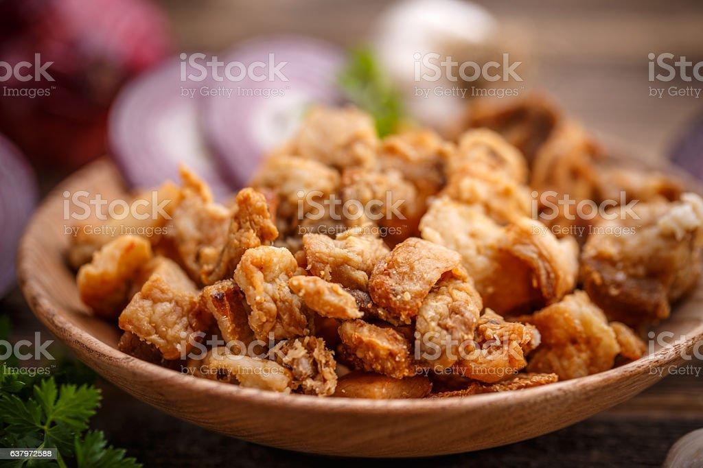 Salty pork greaves stock photo