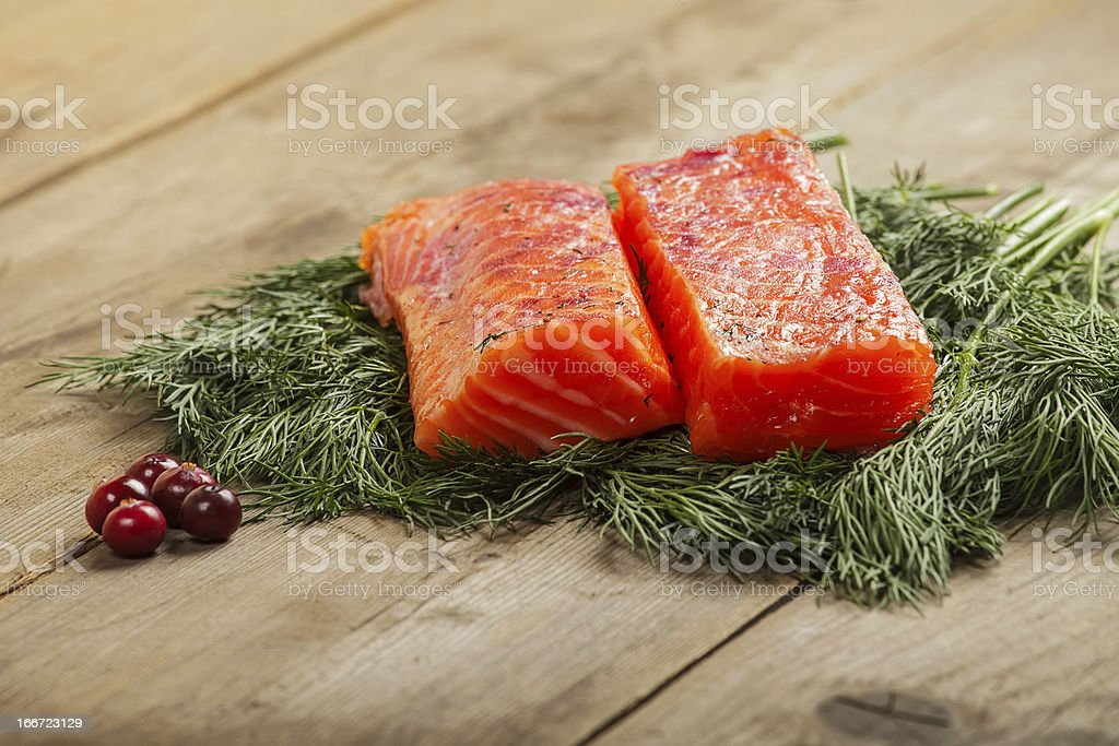 Salty salmon with cranberry royalty-free stock photo