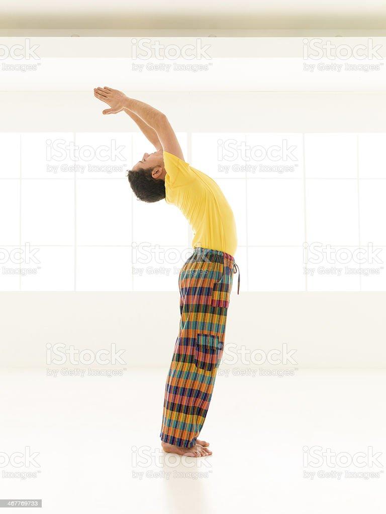 salutation yoga pose stock photo