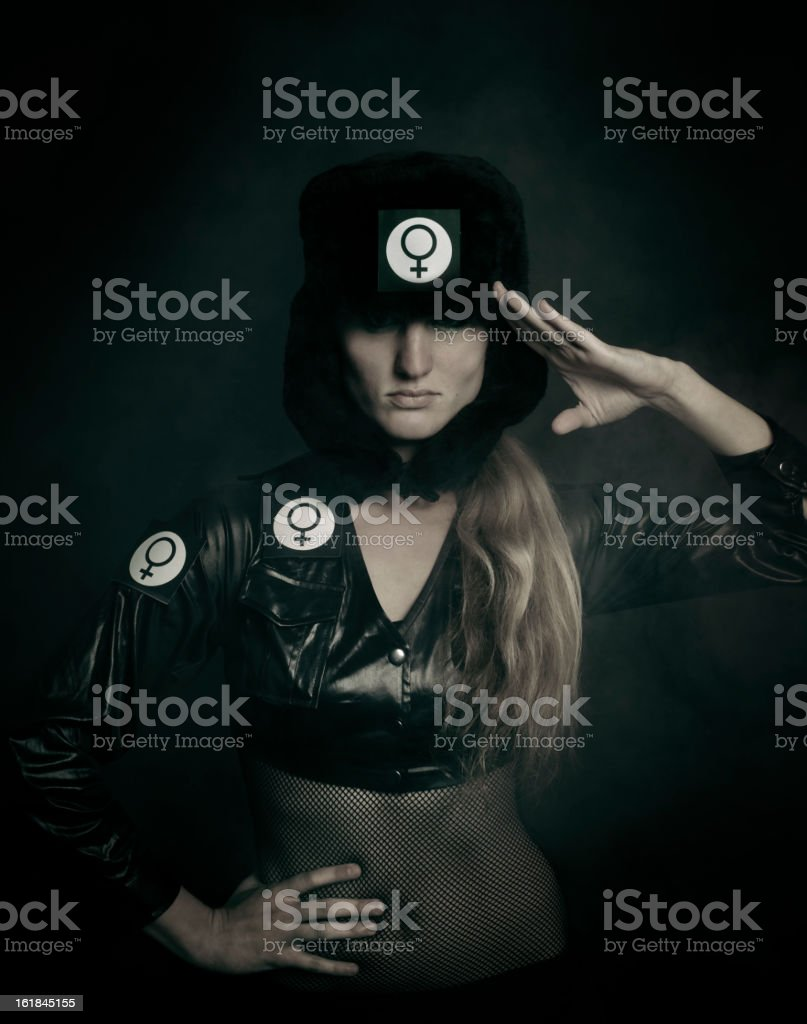 Salute of the Miss Girl Power royalty-free stock photo