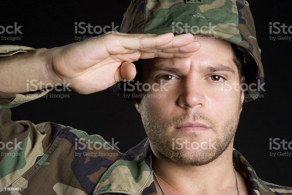 Saluting Army Man royalty-free stock photo