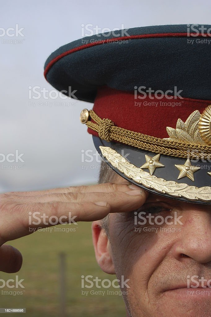 Saluting Army Officer. royalty-free stock photo