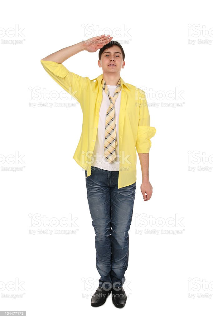 Saluting young man. royalty-free stock photo