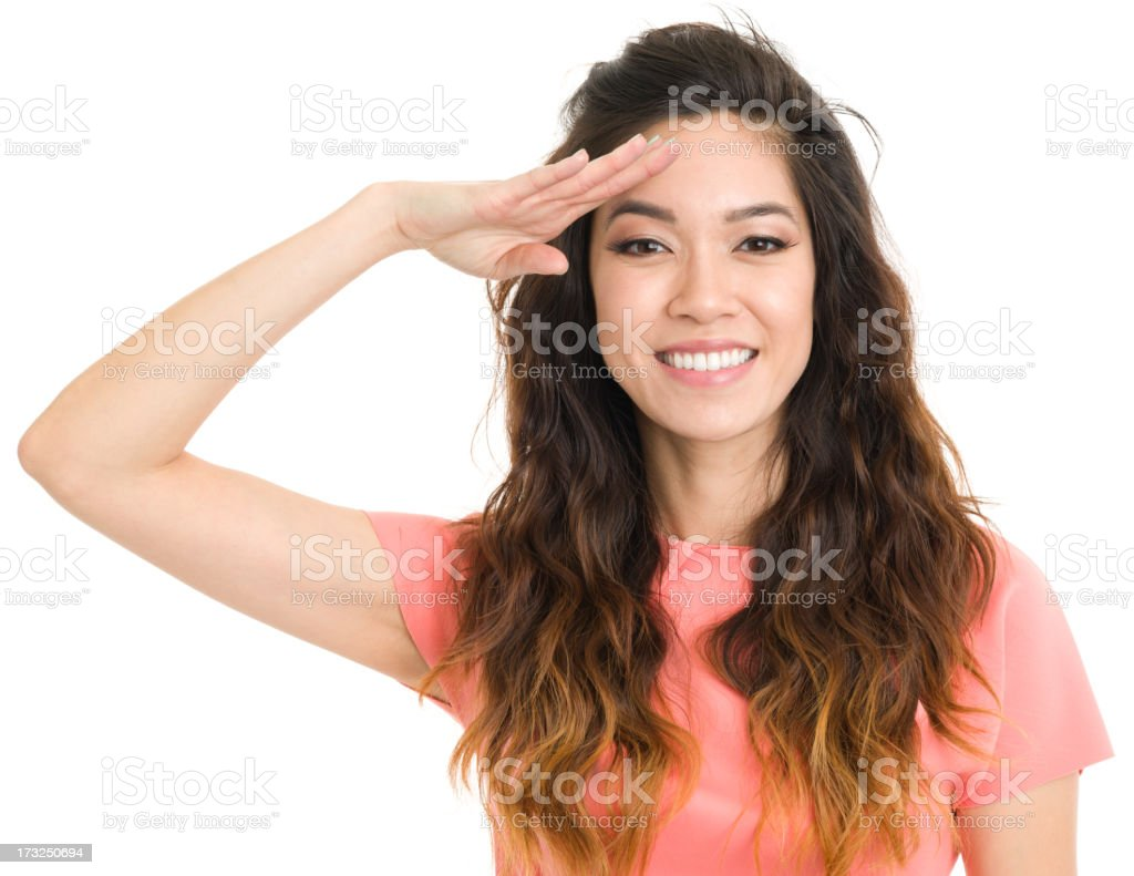 Saluting Young Woman royalty-free stock photo