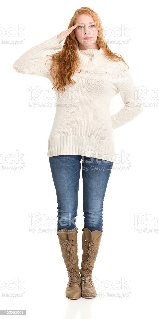 Saluting Young Woman Standing royalty-free stock photo
