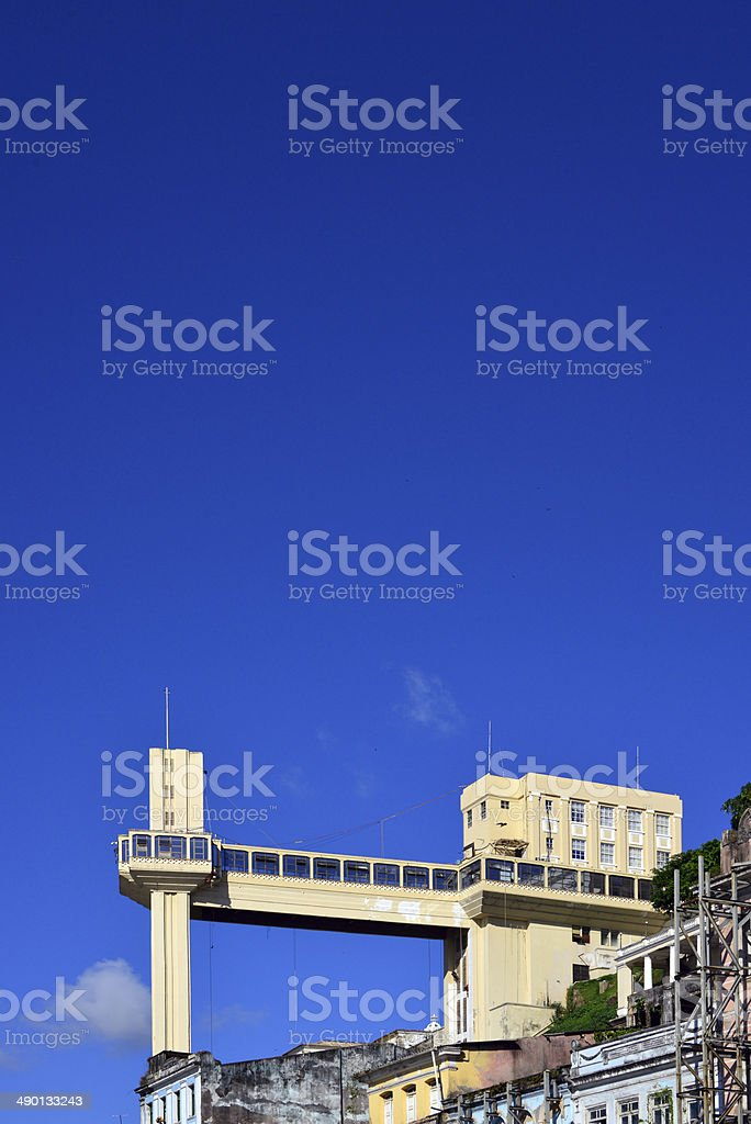 Salvador, Bahia - blue sky and the Lacerda elevator stock photo