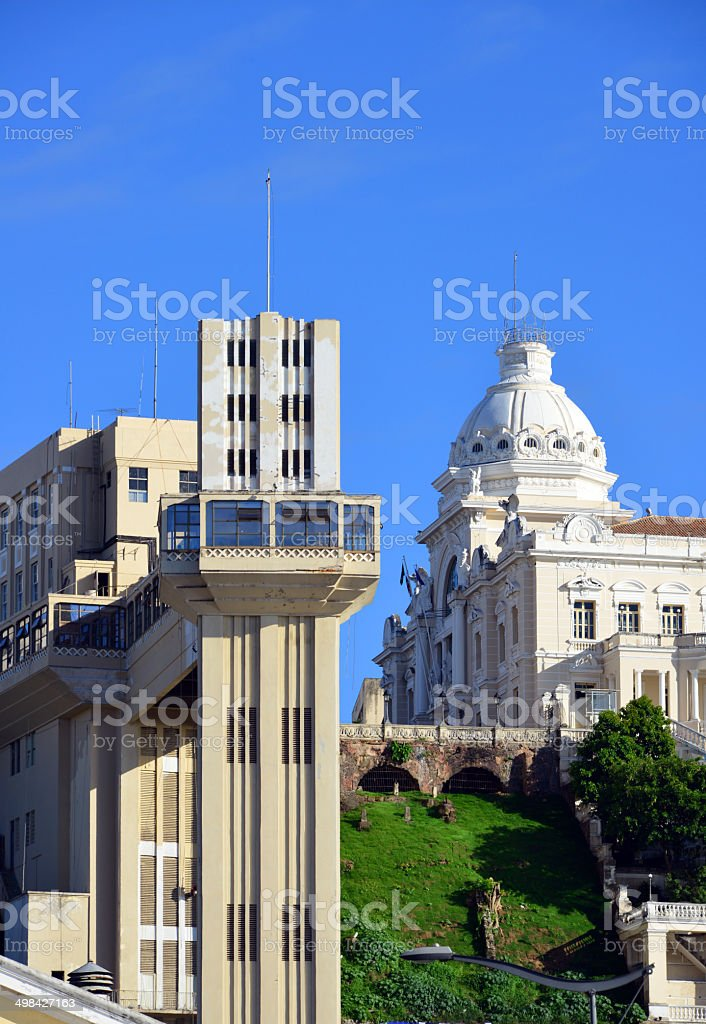 Salvador, Bahia - Lacerda elevator and Rio Branco Palace stock photo