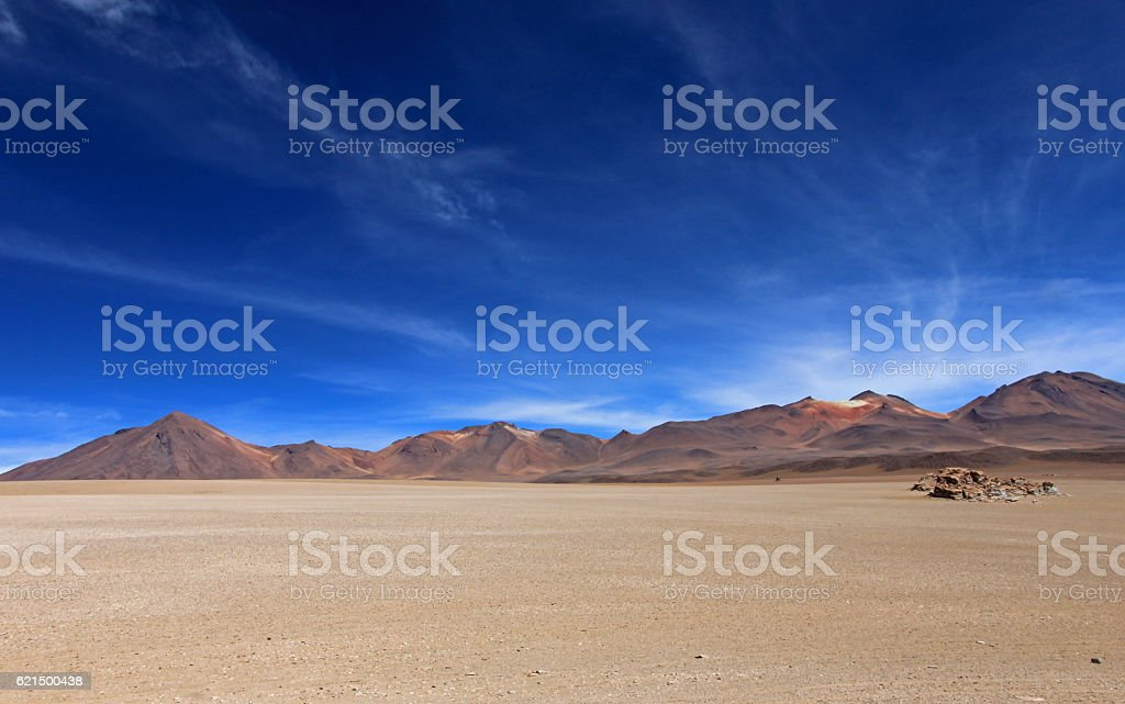 Salvador Dali desert and colorful mountains in Bolivia stock photo