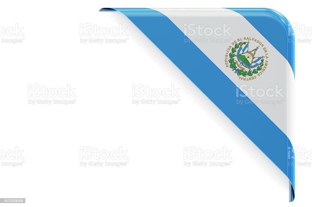 Salvador flag corner, button, label. 3D rendering stock photo