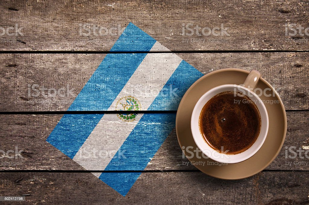 Salvador flag with coffee stock photo