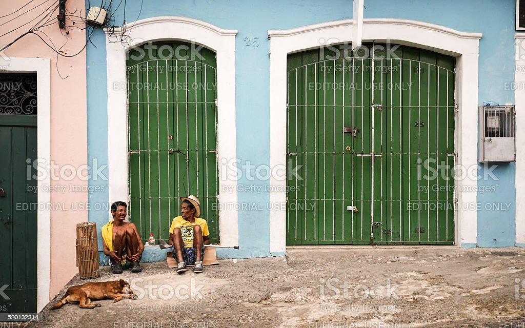 Salvador friends relaxing stock photo