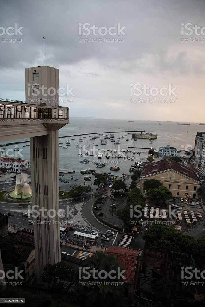 Salvador lower town at sunset, Salvador, Bahia, Brazil stock photo