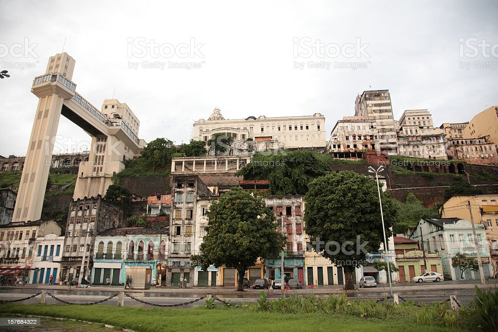Salvador lower town with elevator lacerda, Salvador, Bahia, Brazil stock photo