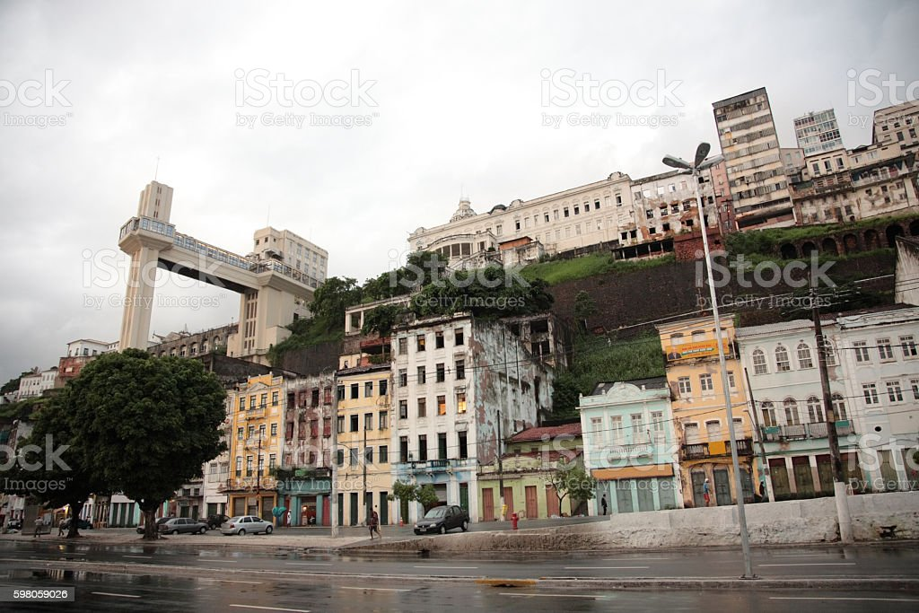 Salvador lower town with with elevator lacerda, Salvador, Bahia, Brazil stock photo