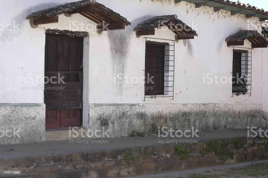 Salvadoran Building Front and Street royalty-free stock photo
