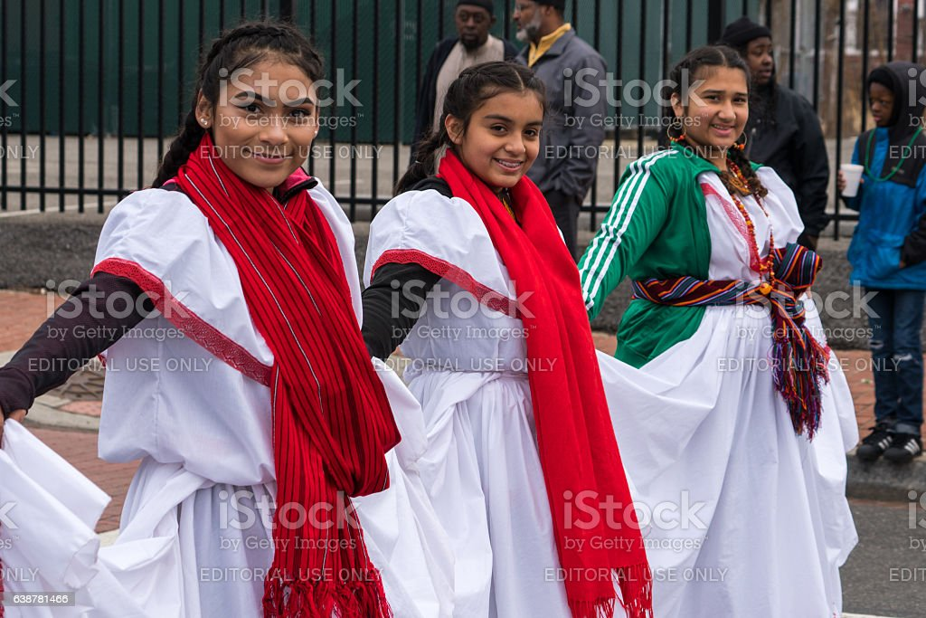 Salvadoran Girls in Parade stock photo