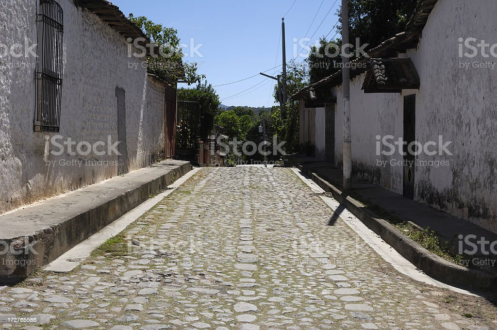 Salvadoran Street and Buildings stock photo