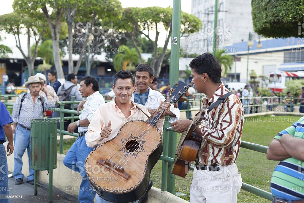 Salvadorian musician giving thumb up stock photo