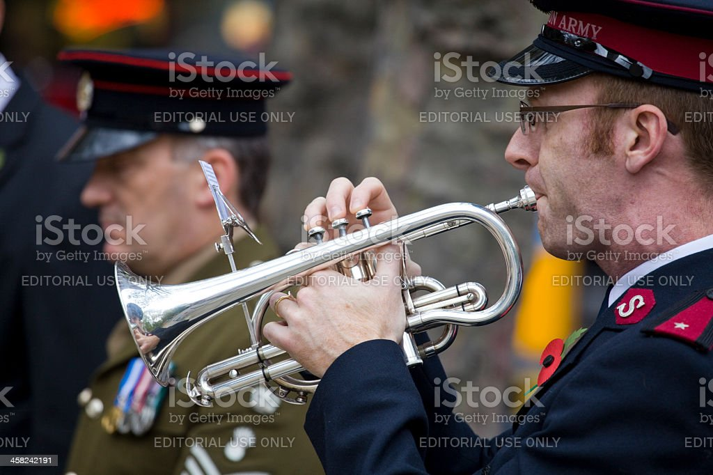 Salvation Army Trumpeter Plays the Last Post stock photo