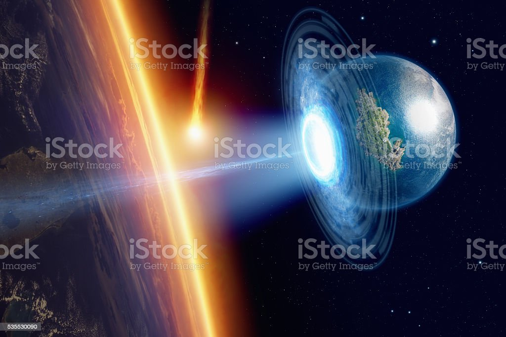 Salvation from isteroid impact stock photo