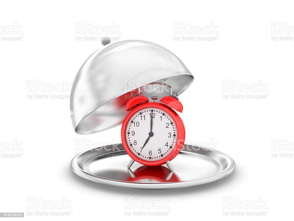 Salver with alarm clock stock photo