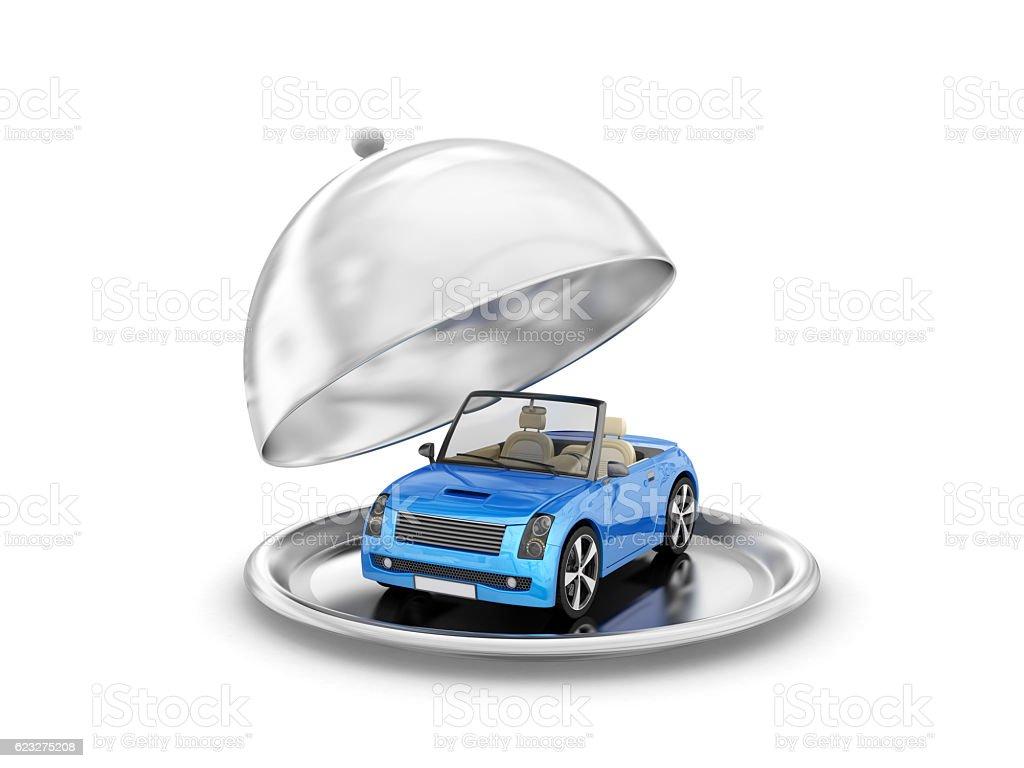 Salver with blue convertible stock photo