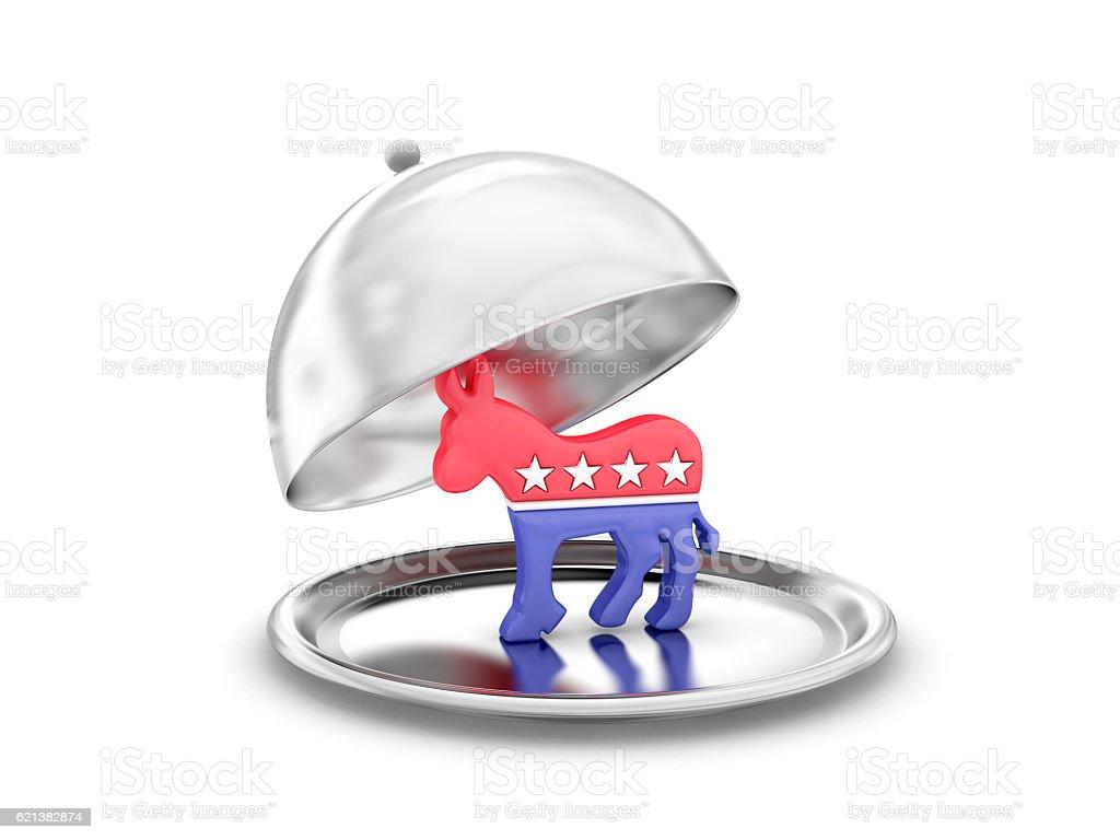 Salver with democrats symbol stock photo