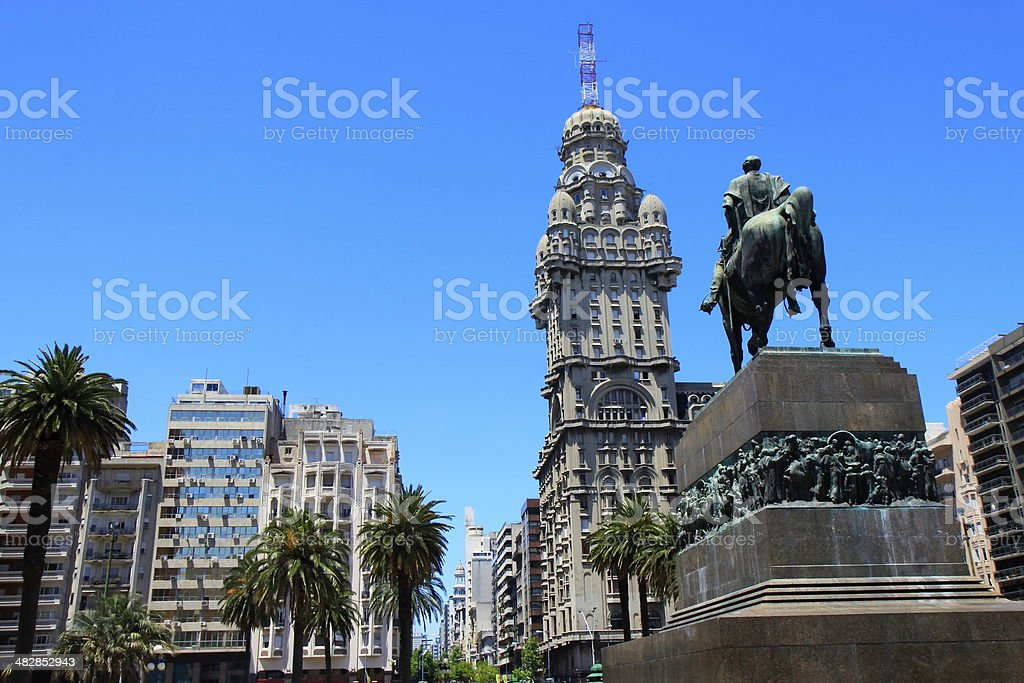 Salvo Palace and the Plaza da Independencia - Montevideo, Uruguay stock photo
