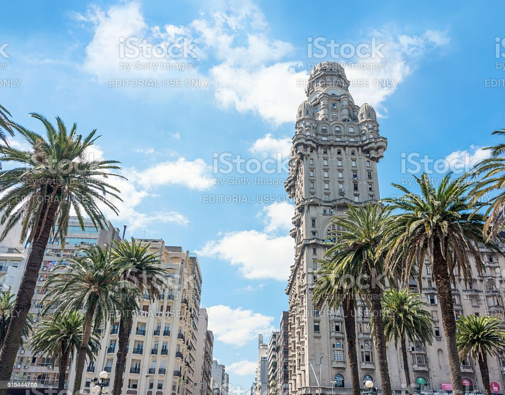 Salvo Palace on the Independence Square, Montevideo, Uruguay stock photo