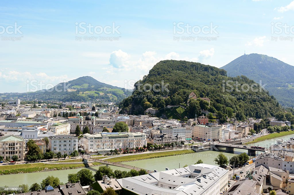 Salzach river flows through Salzburg city centre in Austria stock photo
