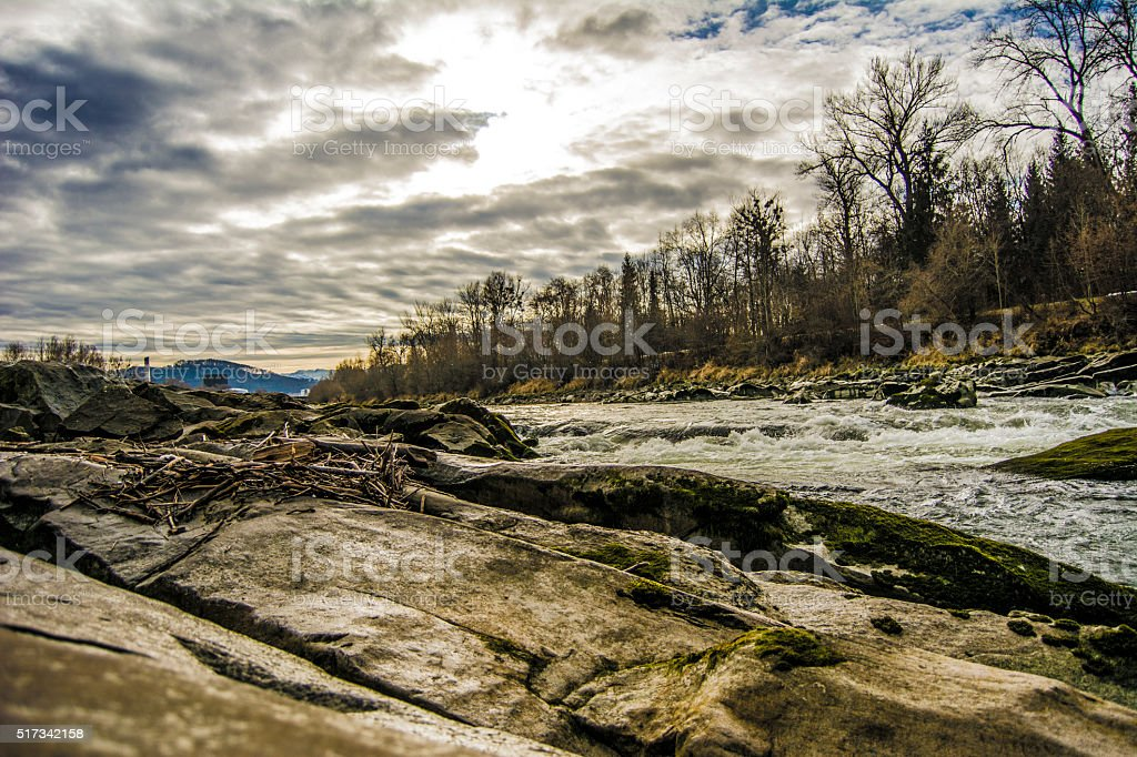 Salzach river in HDR stock photo