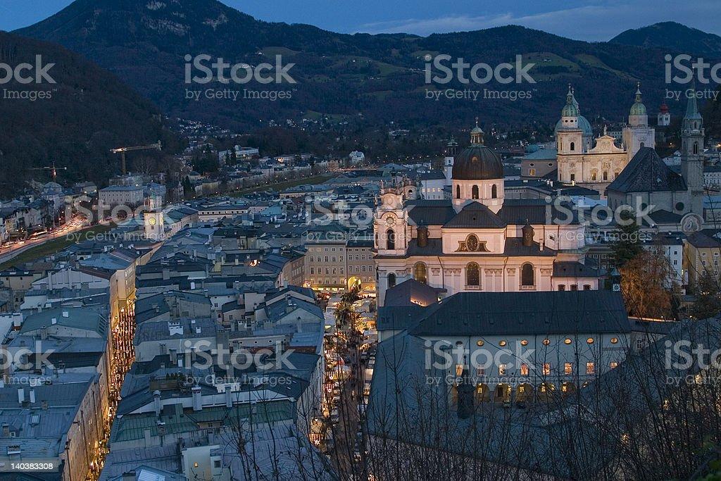 Salzburg am Abend stock photo