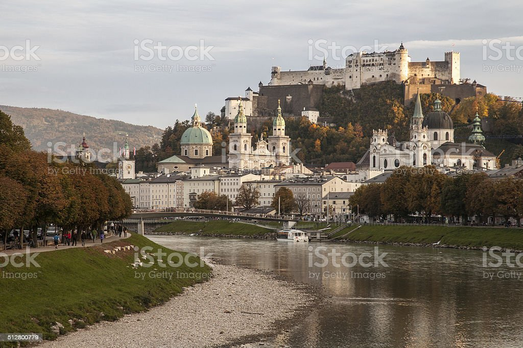 Salzburg and the Salzach River stock photo