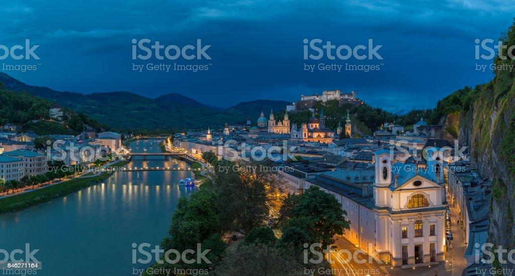 Salzburg, Austria at night stock photo