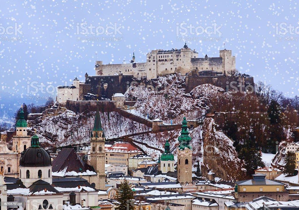 Salzburg Austria at winter stock photo