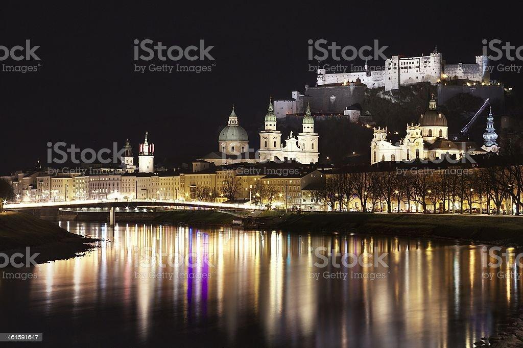 Salzburg, Austria, by night stock photo