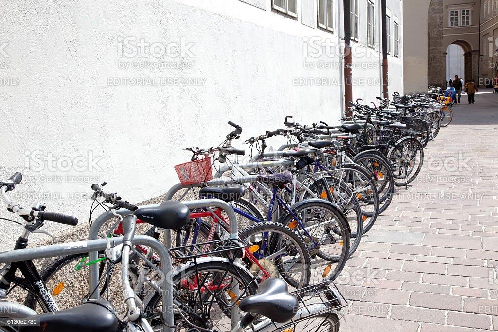 Salzburg. Bicycle parking stock photo