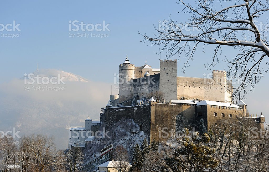 Salzburg castle in winter stock photo
