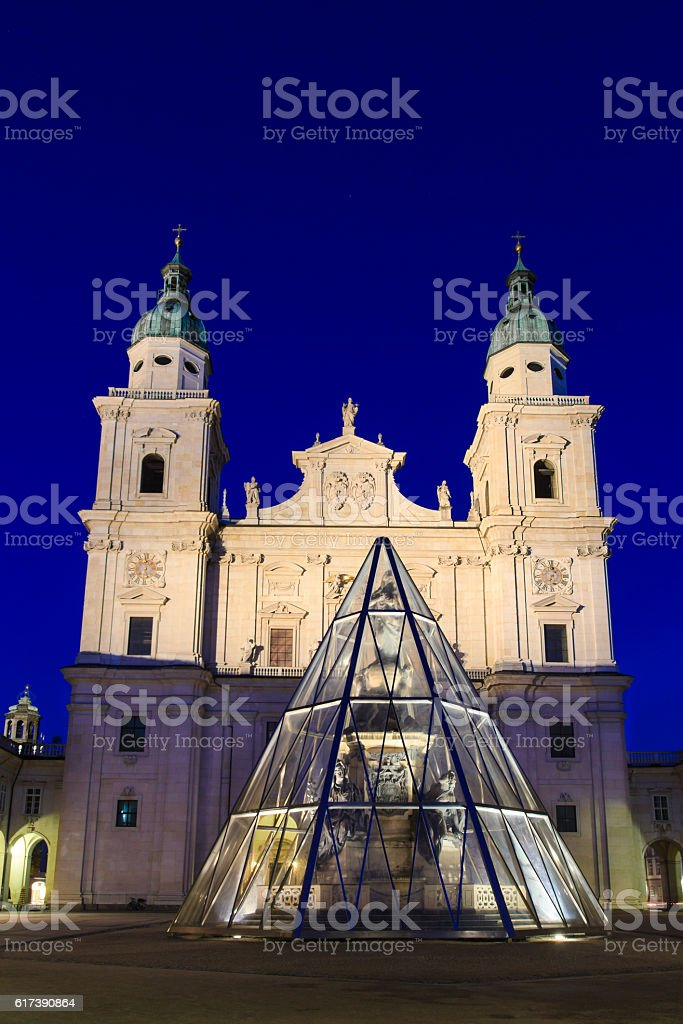 Salzburg Cathedral (Salzburger Dom) at Domplatz, Salzburg, Austria stock photo