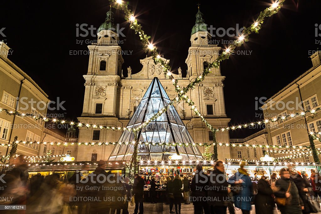 Salzburg Christmas Market at Night stock photo