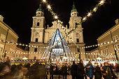 Salzburg Christmas Market at Night