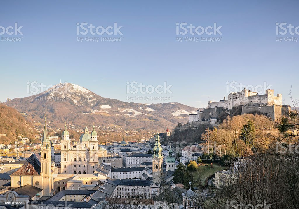 Salzburg City and Hohensalzburg Fortress stock photo