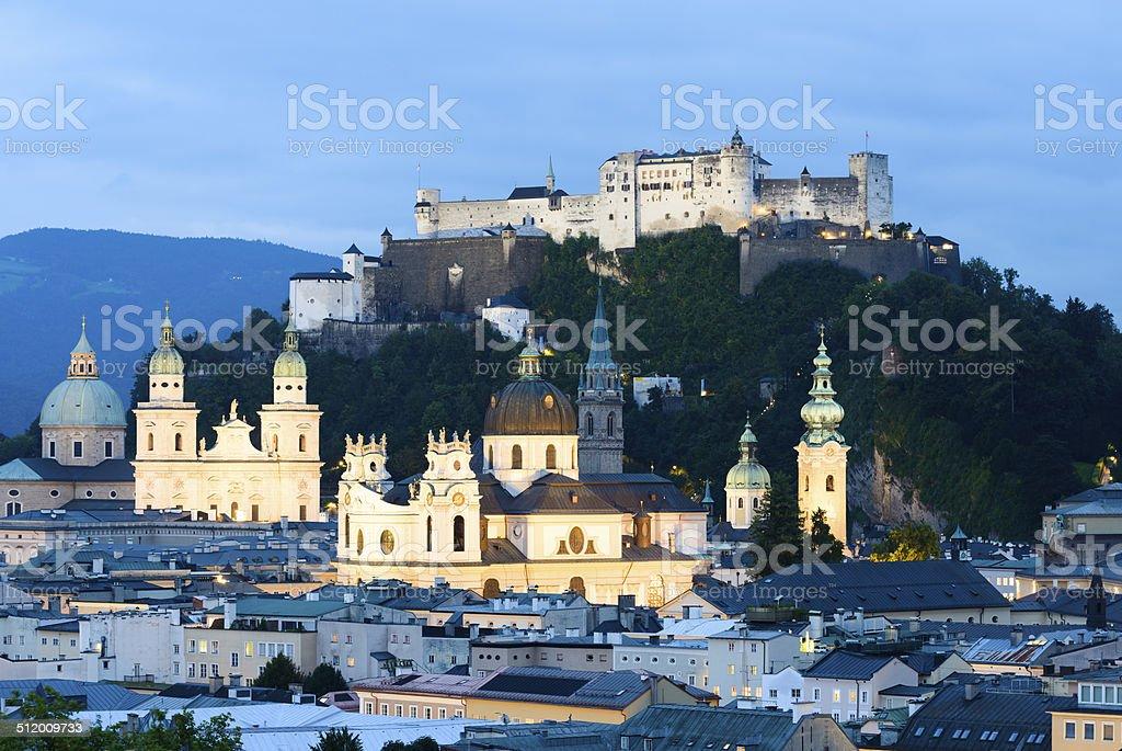 Salzburg City Skyline at Night in Austria stock photo