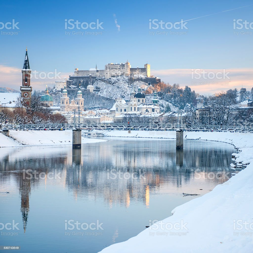 Salzburg covered in Snow, Austria stock photo